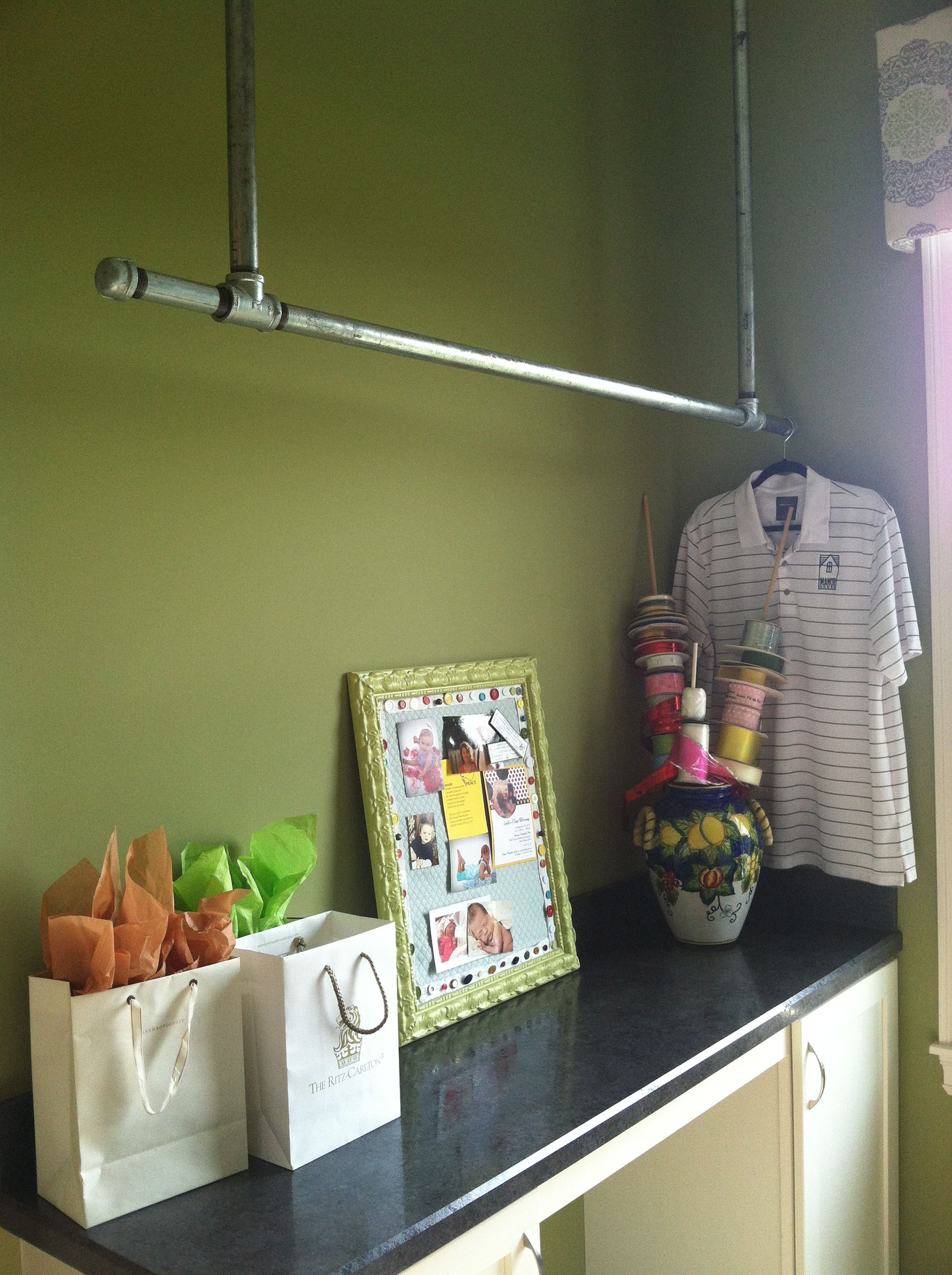 Industrial Bar For Hanging Clothes In Laundry Room