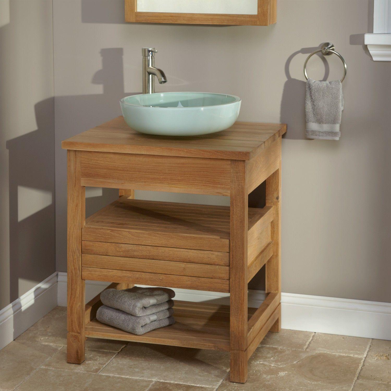 24 Anders Teak Vessel Sink Vanity Teak Top Bathroom Vanities