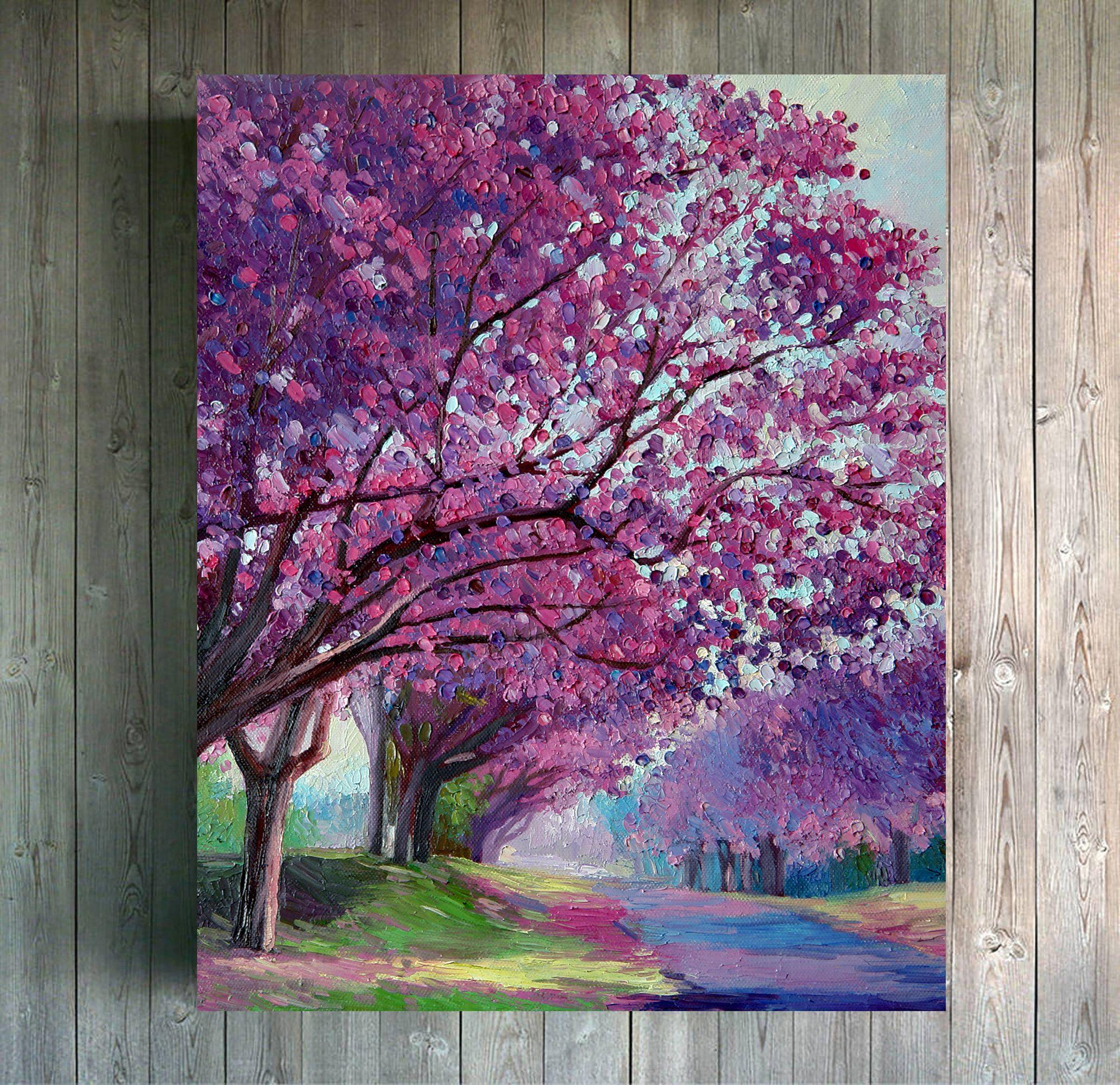 Landscape Blossom Trees Impasto Oil Painting On Canvas Impressionism Art Fruit Trees Flowers Blooming Flowers Trees Gift Idea In 2021 Tree Painting Cherry Blossom Painting Blossom Trees