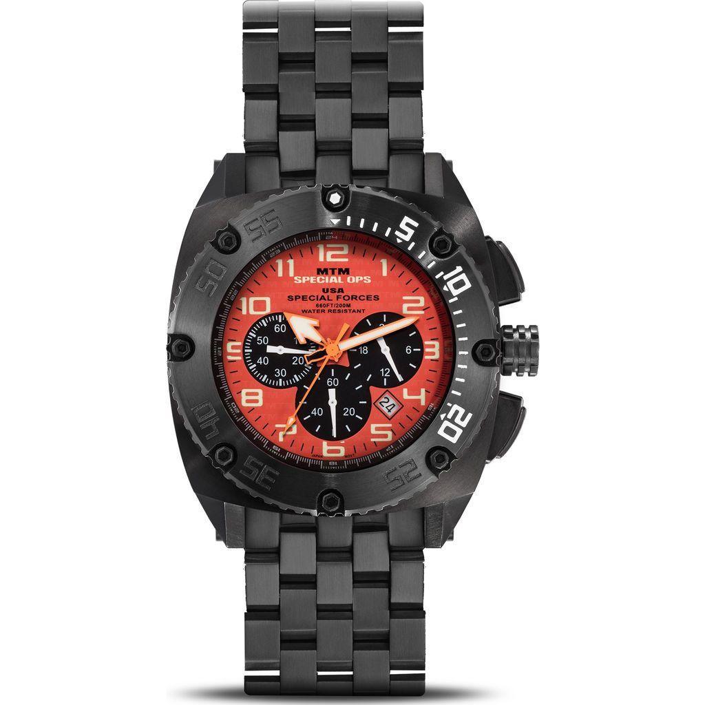 MTM Special Ops Steel Patriot Watch | Black/Orange