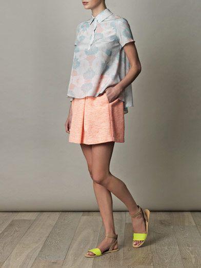 Jonathan Simkhai blouse, Sea NY tweed skirt, and Margiela neon sandals