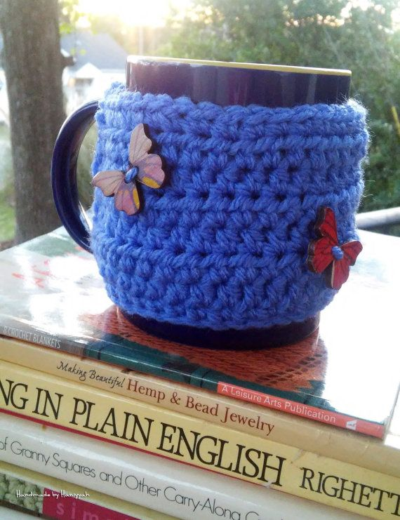 Crochet Mug Cozy Cozies - in Purple with Butterflies Buttons | All ...