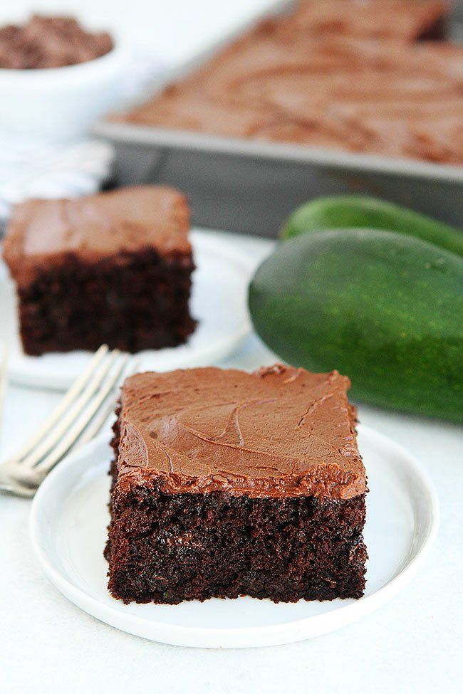 chocolate zucchini cake with chocolate frosting! This cake is a family favorite recipe and the perfect way to use up the garden zucchini!