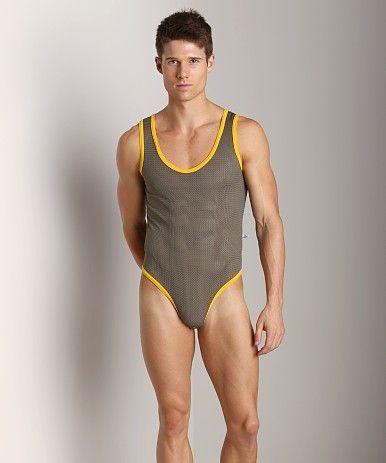 American Jock Athletic Mesh Body Tank Olive/Gold