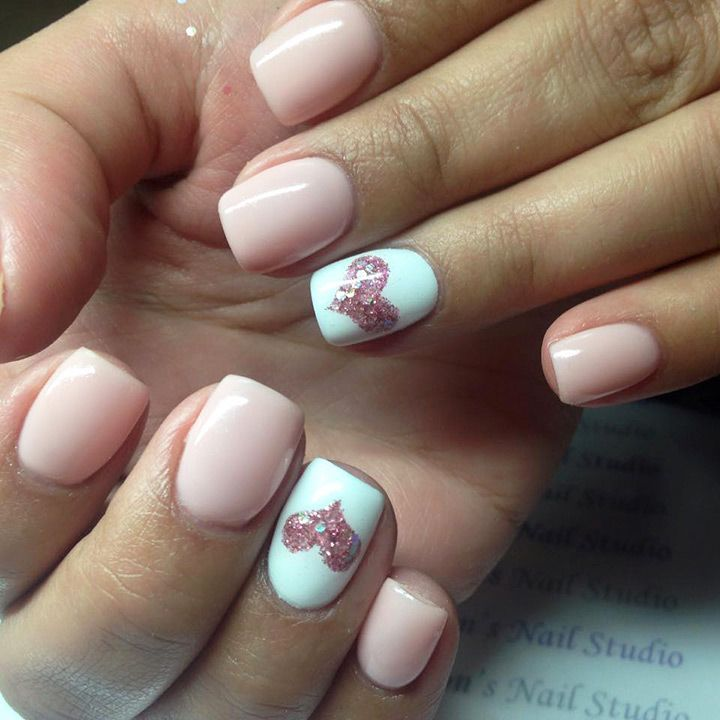 24 Heart Nail Designs to Show off your Engagment Ring | Pale pink ...