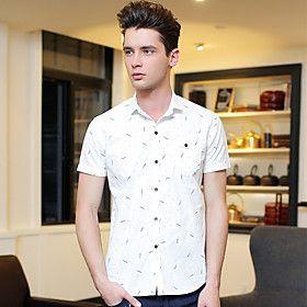 Men's Cotton and Linen Small Broken Flower Short-Sleeved Shirt in Summer