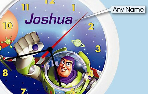 """""""To infinity and beyond"""", the Toy Story personalised name clock will help your child relive the adventures of Buzz, Woody and the rest of the gang while learning to tell the time. A perfect and unique gift made from durable plastic with a perspex face, the clock measures 21cm in diameter."""