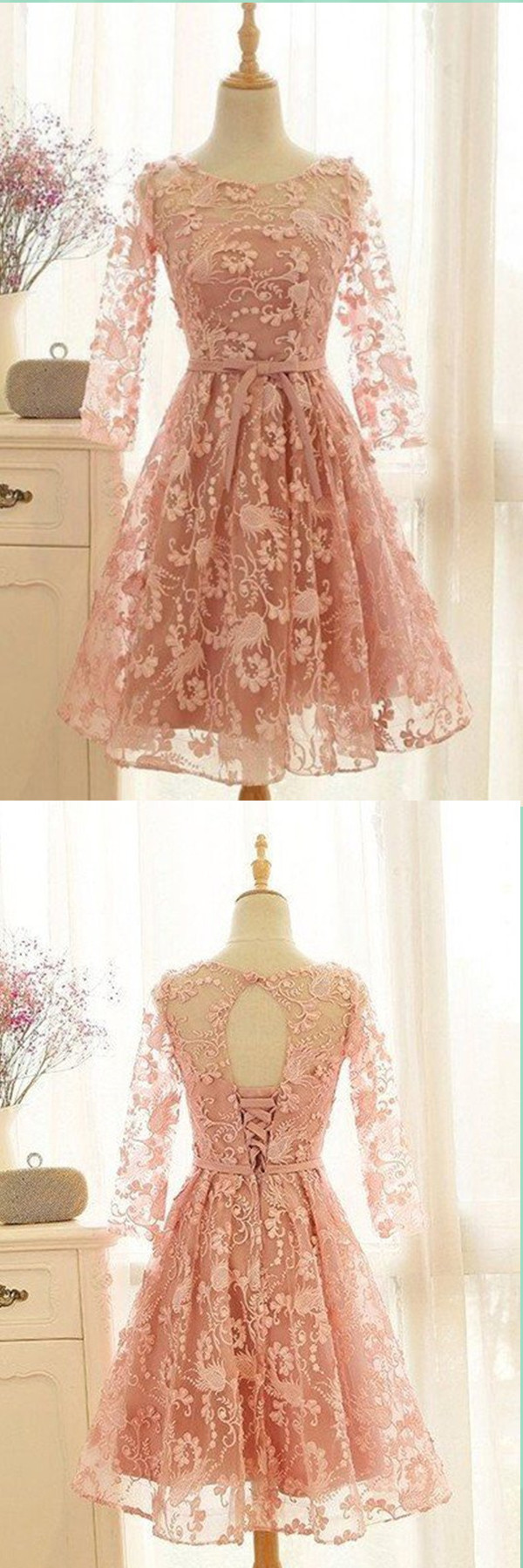 Awesome peach full sleeves prom dress froks pinterest dresses