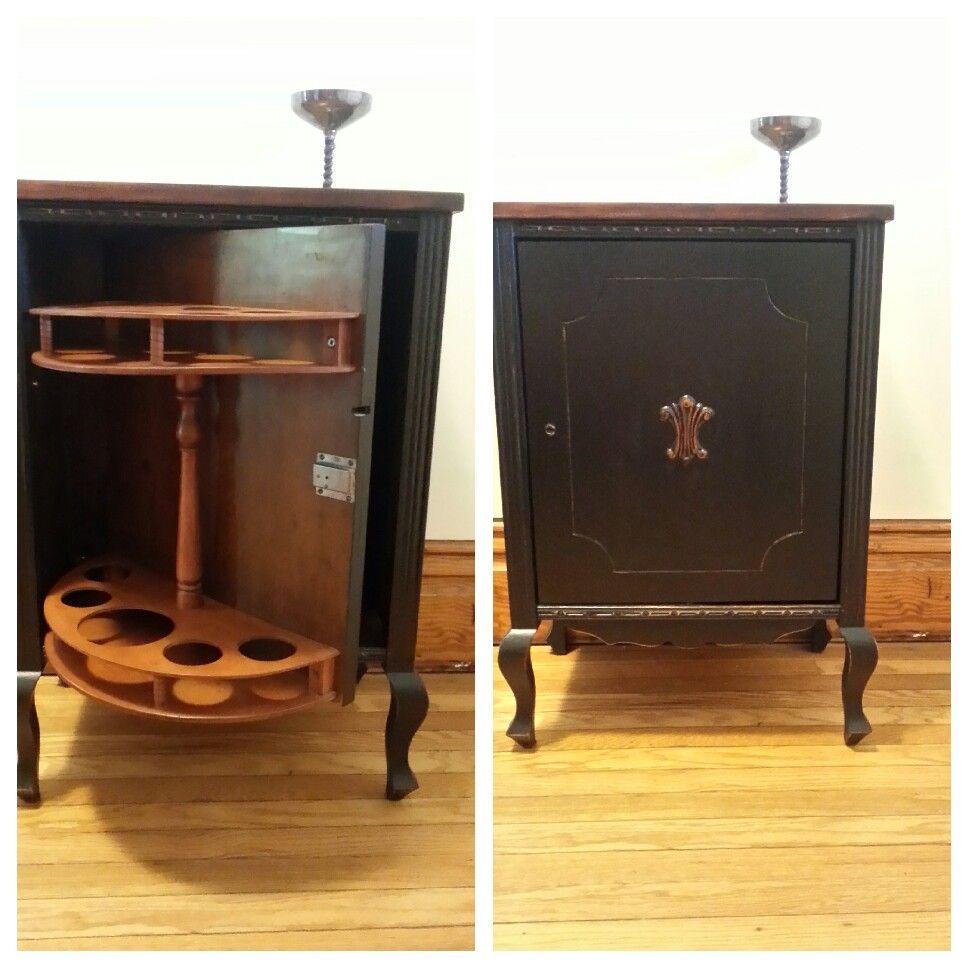 Vintage walnut liquor cabinet. Cottage Paint black lightly ...