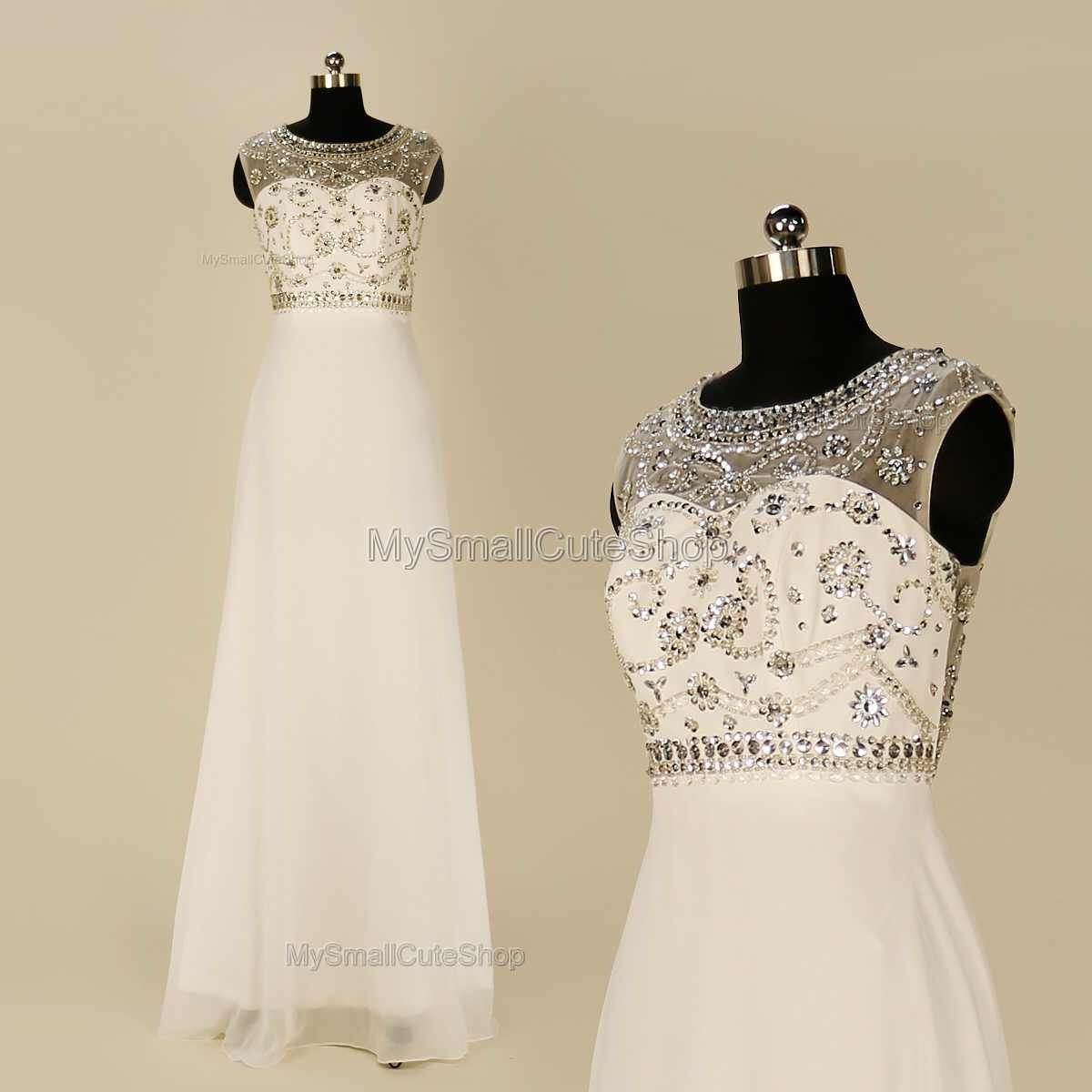 White prom dressbeaded crystal rhinestone bridesmaid dressaline