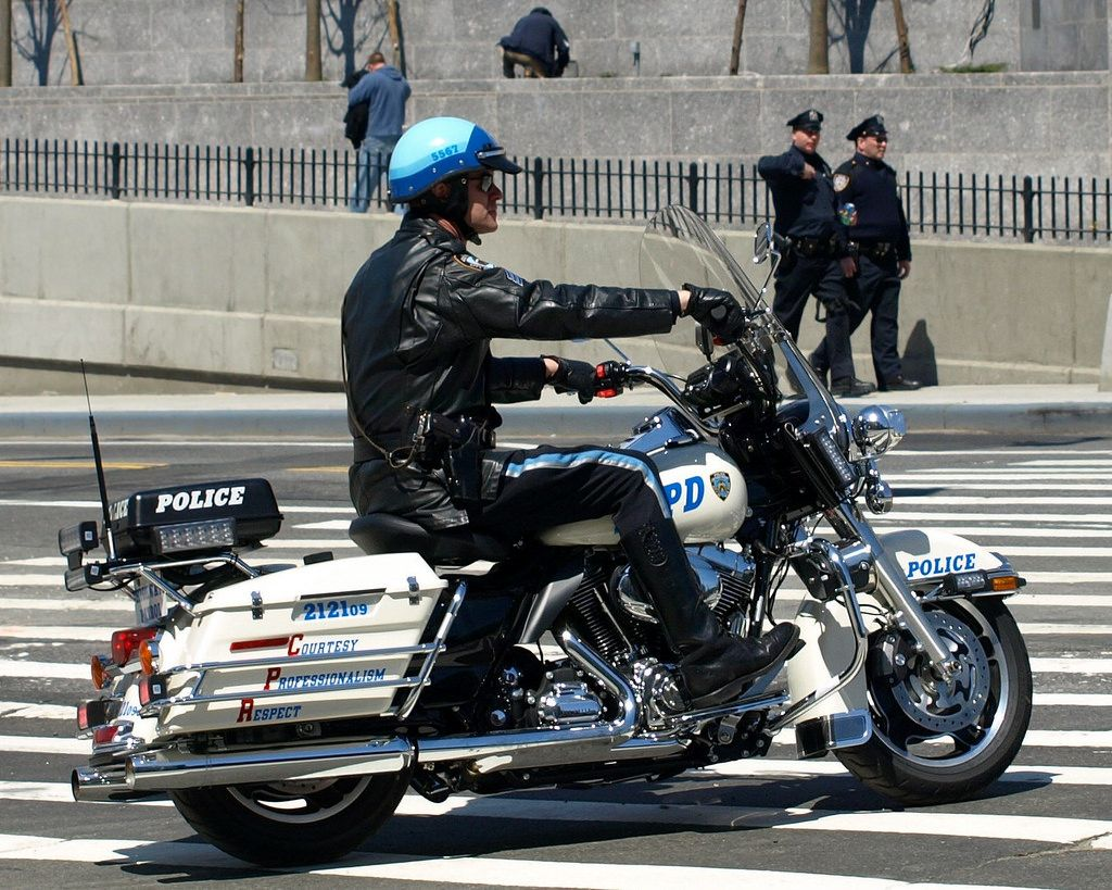 Nypd Harley Davidson Motorbike Police Officer Bronx New York City Armored Truck Police Cops