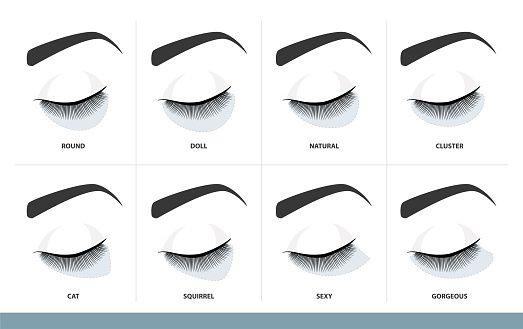 Eyelash Extension Style Chart. Different Eyelash Extension ...