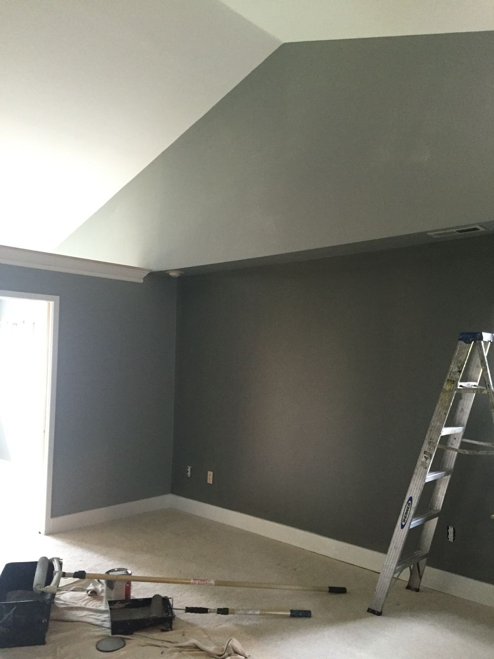 Bedroom paint accent wall - Sherwin Williams Colors Sw Gray Matters Sw Cityscape Accent Wall Master Bedroom Suite