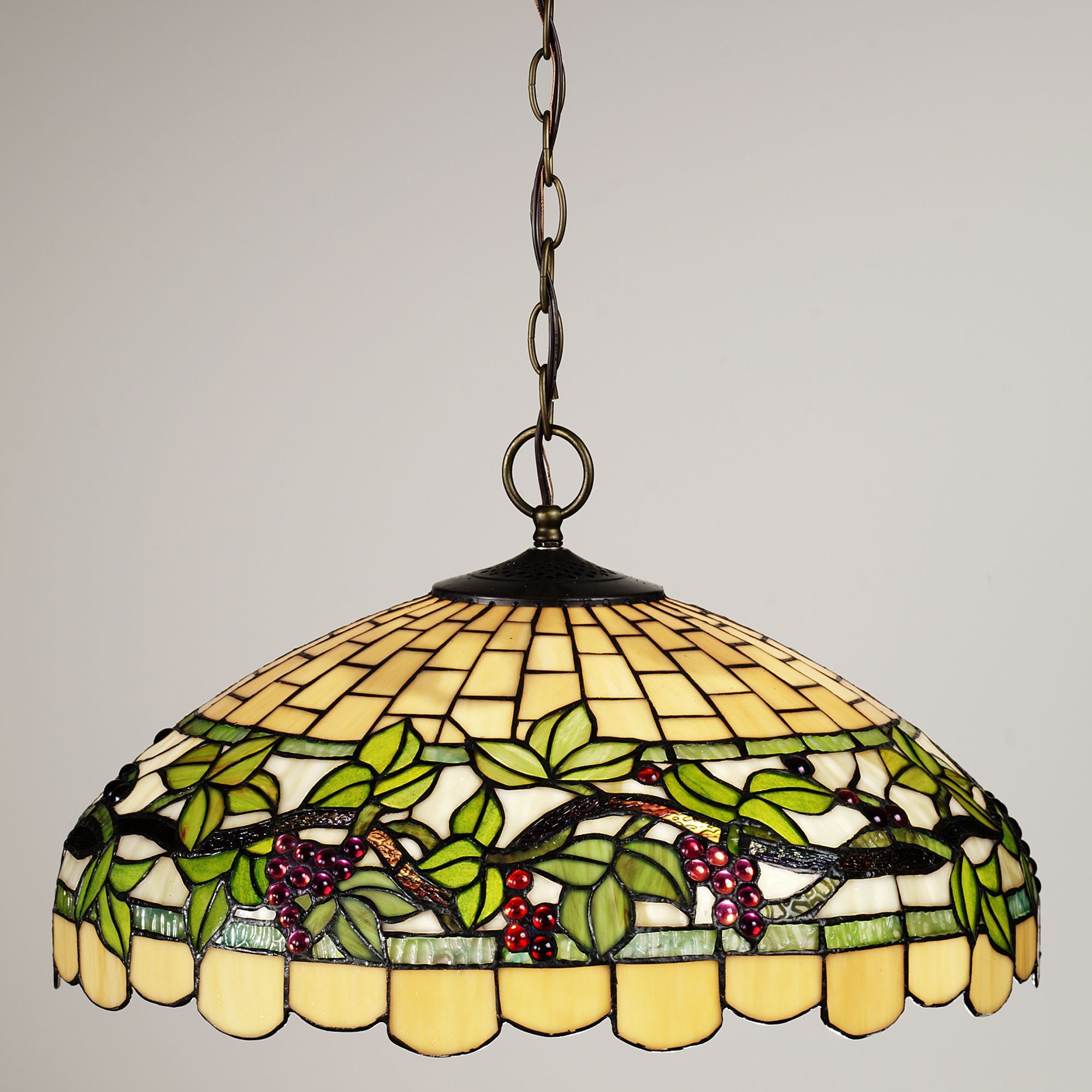 Grapevine breeze stained glass hanging lamp