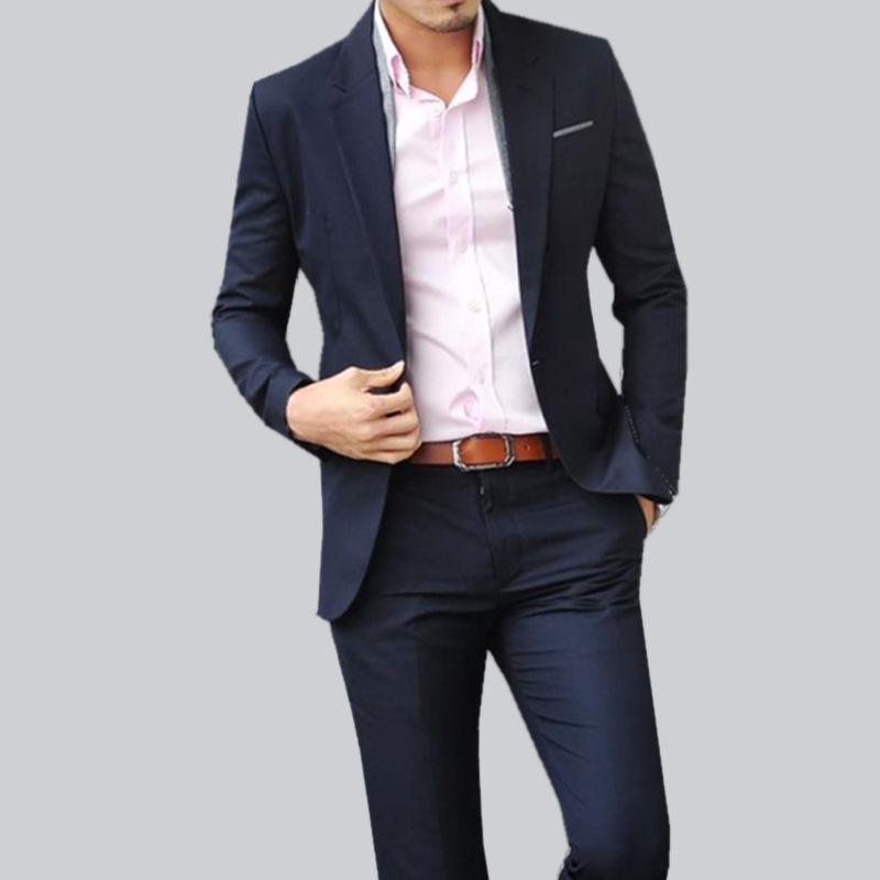 Navy blue suit pink shirt | Men's fashion | Pinterest | Navy blue ...