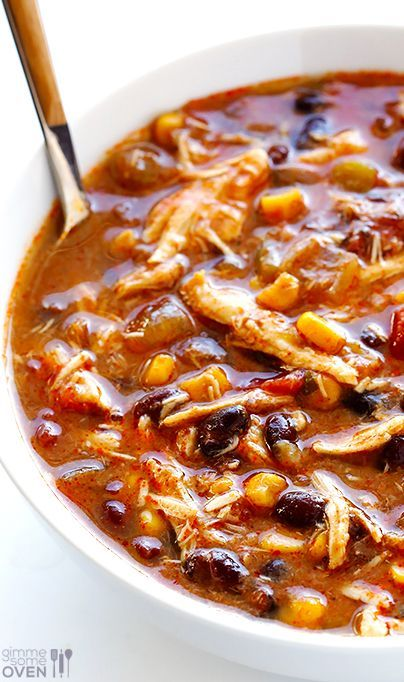 Slow Cooker Chicken Enchilada Soup | Gimme Some Oven