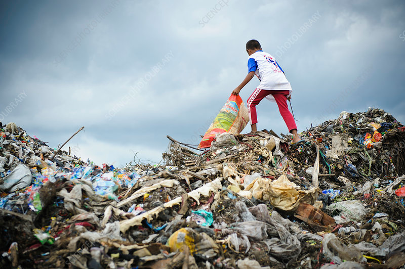 Landfill Scavenging Boy Collecting Plastic And Metal Waste For Recycling From A Landfill Rubbish Dump Photographed On T Rubbish Dump Landfill Science Photos