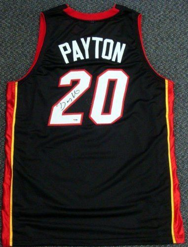 7151d481 Gary Payton Autographed/Hand Signed Black Miami Heat Jersey PSA/DNA by Hall  of