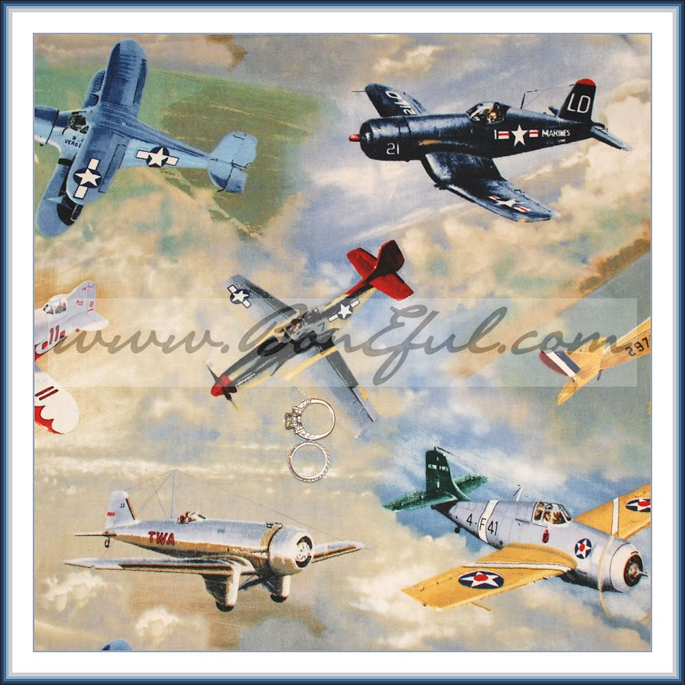 Booak Fabric Quilt Navy Marine Air Force Airplane Model