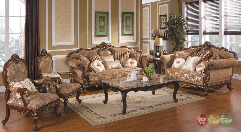 Tuscan Villa Antique Style Traditional Formal Sofa Set