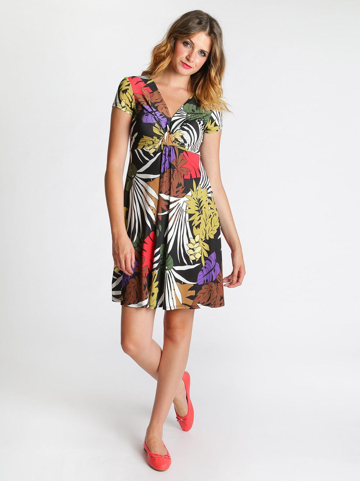 a9575df7a15d Vestito corto a maniche corte in fantasia colorata