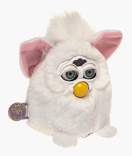 Furby Baby by HASBRO. $90.00. Amazon.com                Want to hear the jabber of Furbish in your life? Announcing the newest addition to the  fantastically faddish Furby family... Furby Babies! Smaller versions of the originals  (but with louder and  higher-pitched voices), the colorful Furby Babies can't wait to call you Mommy or Daddy and tell you they  are hungry. This one is white plush and has blue eyes, pink ears, and a white tuft of hair on its head. Don't  forget to bur...