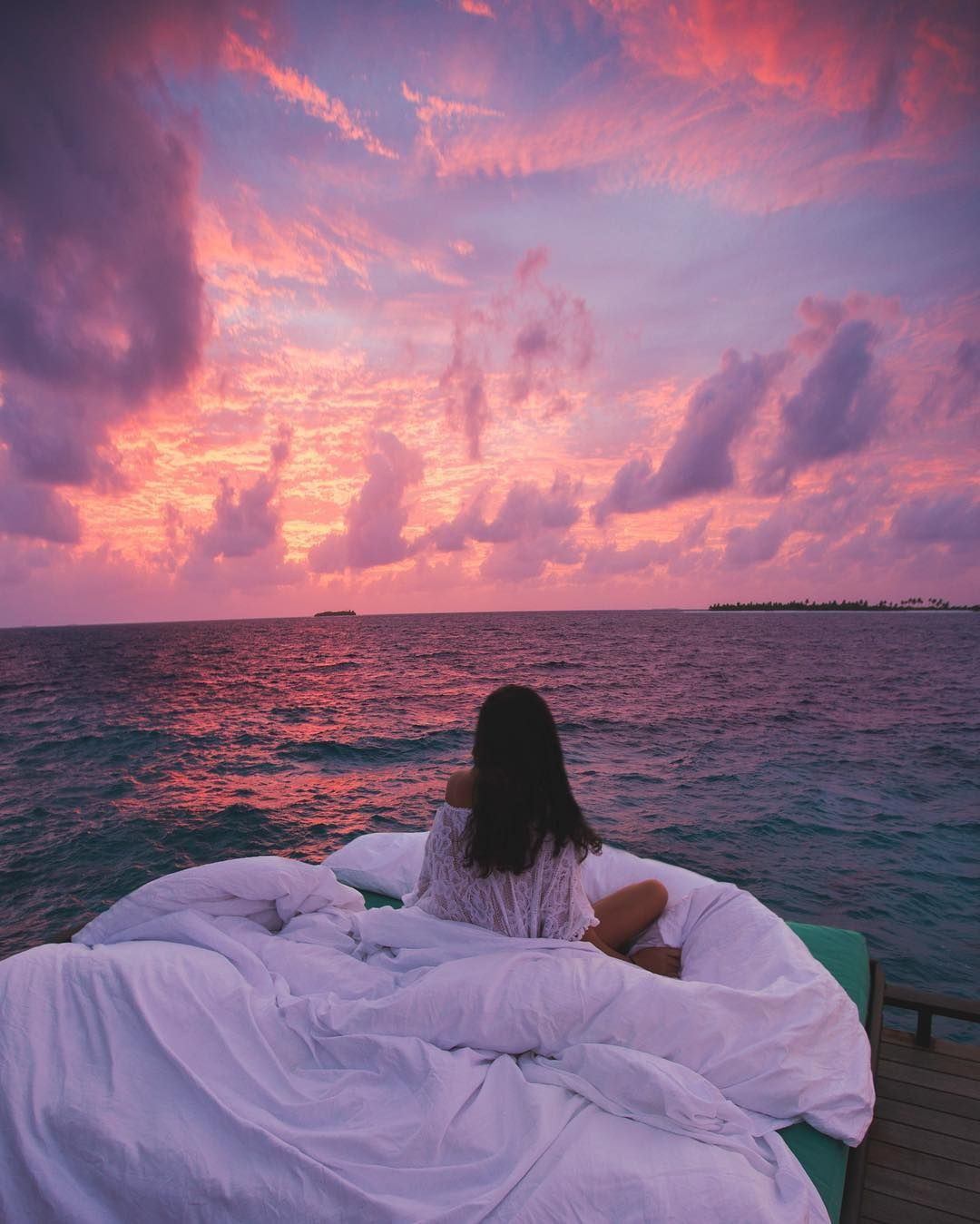 Sleeping to the sound of the waves and a pink sky (JA Manafaru Maldives ) //  by leahliyah