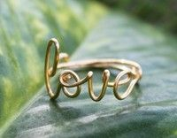 Wish | Gold Wire Love Ring - Adjustable Band - Dainty Ring, Conversation Ring