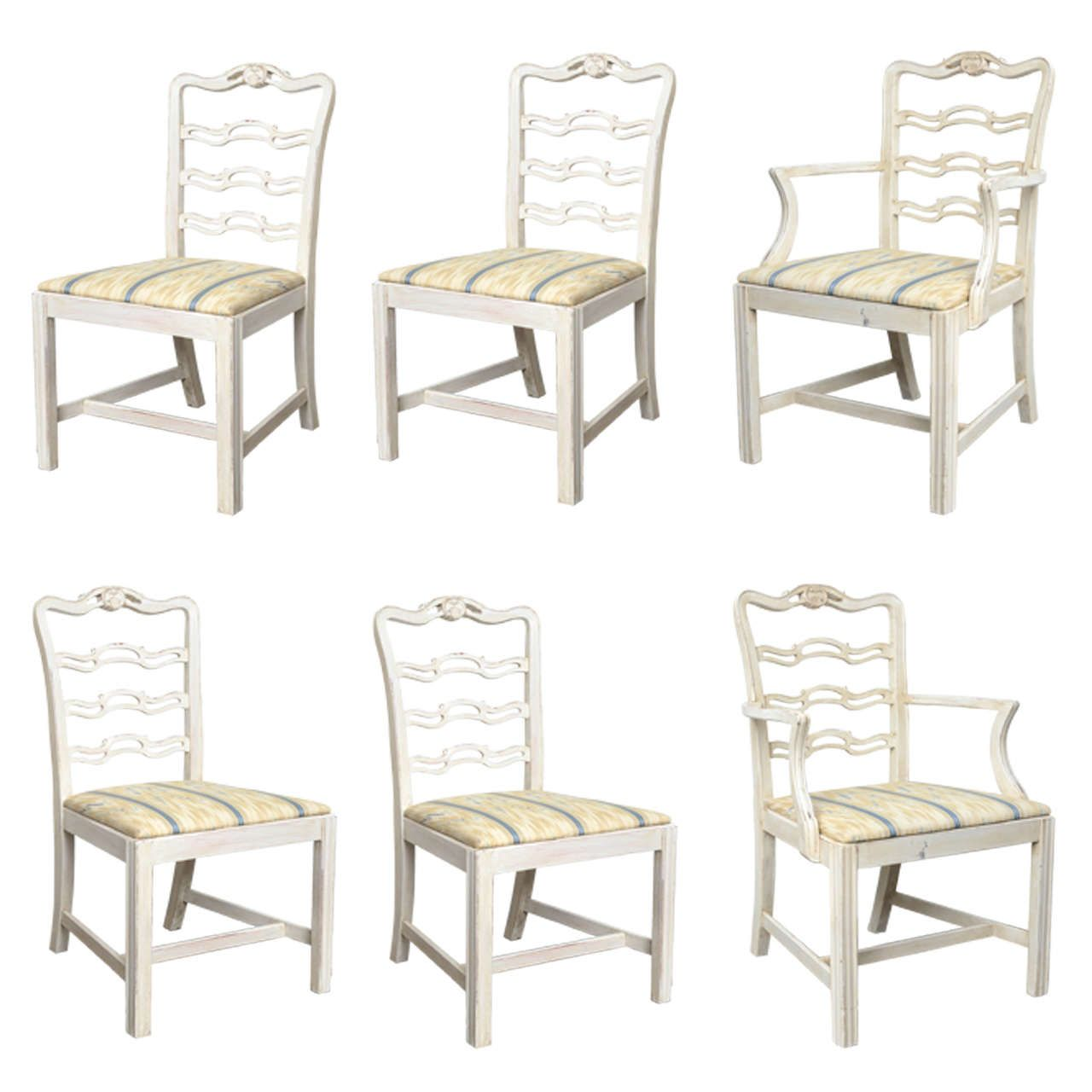 Miraculous Set Of Six Vintage Hand Painted Ribbon Back Dining Chairs Short Links Chair Design For Home Short Linksinfo