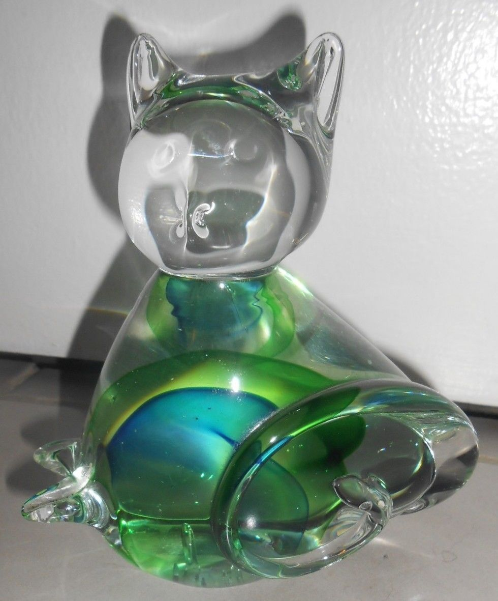 Pier 1 Art Glass Cat Modern Heavy Abstract Paperweight Door Stop Decor Statue