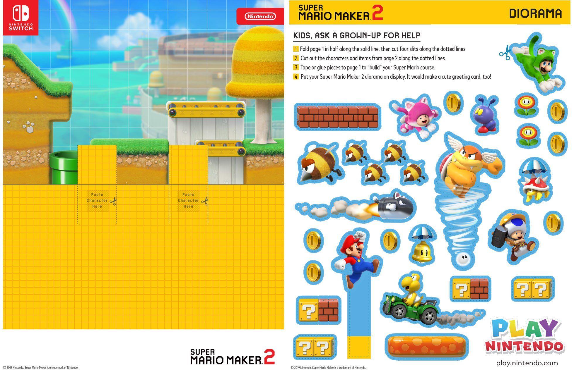 Diorama Imprimible De Super Mario Maker 2 Juega A Nintendo In 2020 Super Mario Coloring Pages Super Mario Mario