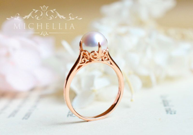 Ring Vintage Inspired Akoya Pearl Engagement