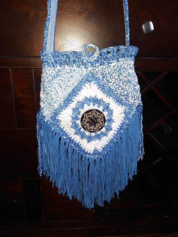 266cc6a7301f Crochet Purse Fringe Purse Urban Gypsy Boho Bag messenger bag ...