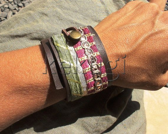 bohemian women leather bracelet and colorful  gold plated trim ribbon  wrap leather cuff adjustable clasp