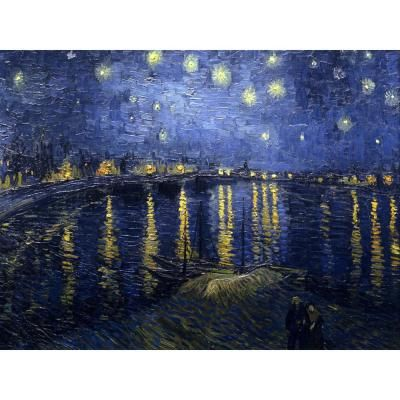 "Oriental Furniture 23.5 in. x 31.5 in. """"Starry Night Over the Rhone by Van Gogh """" Wall Art, Blue;Black"