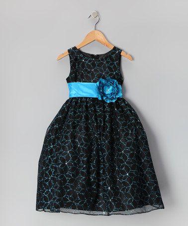Another great find on #zulily! Black & Turquoise Flower Glitter Dress - Toddler & Girls #zulilyfinds