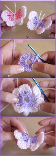 Easy Crochet 3D Butterfly Free Pattern-Video | Pinterest | Animales ...