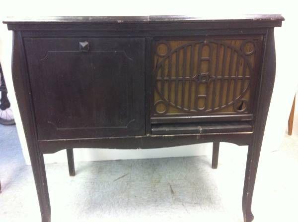 Antique Edison Victrola Wood Stand-Up Cabinet   Thriftique ...