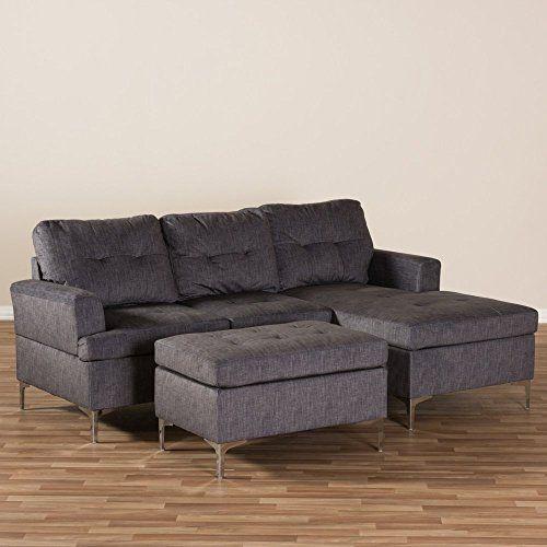 Baxton Studio Riley Upholstered 3 Piece Sectional in Gray ... on Riley 3 Piece Sectional Charleston id=17664