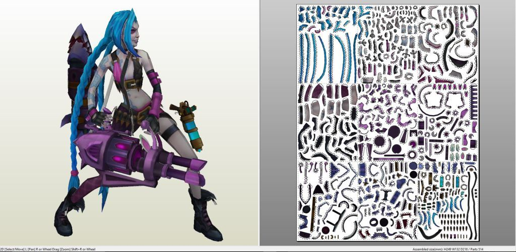 Papercraft .pdo file template for League of Legends - Jinx.