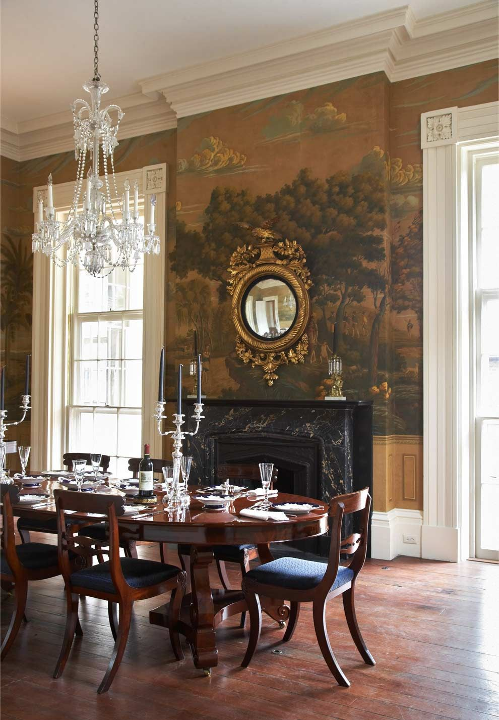 Pin By Pedro Perry On Home Sweet Home Dining Room Wallpaper Elegant Dining Room Decor