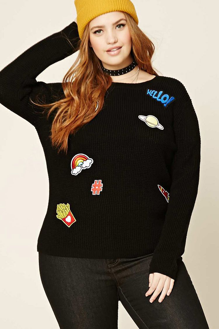 4995bc5364 Plus Size Hello Patch Sweater - Plus Size - Shop All - Sweaters -  2000191047 - Forever 21 EU English
