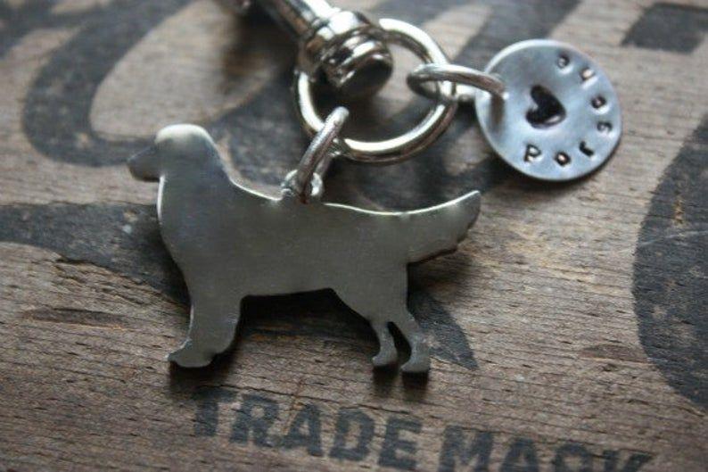 Golden retriever custom keychain personalized dog jewelry