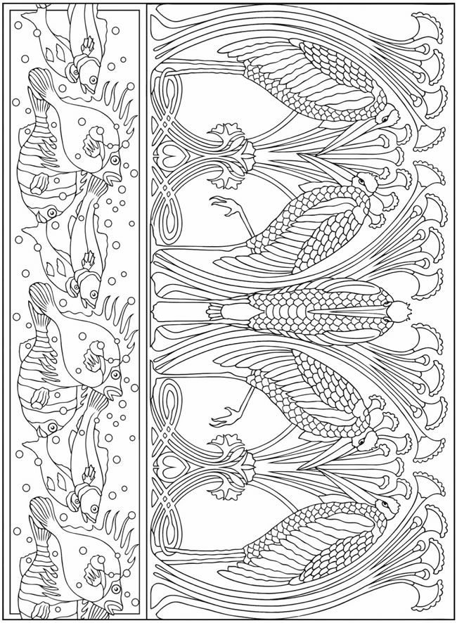 From: Art Nouveau Animal Designs Coloring Book | ~CROCHET & KNITTING ...