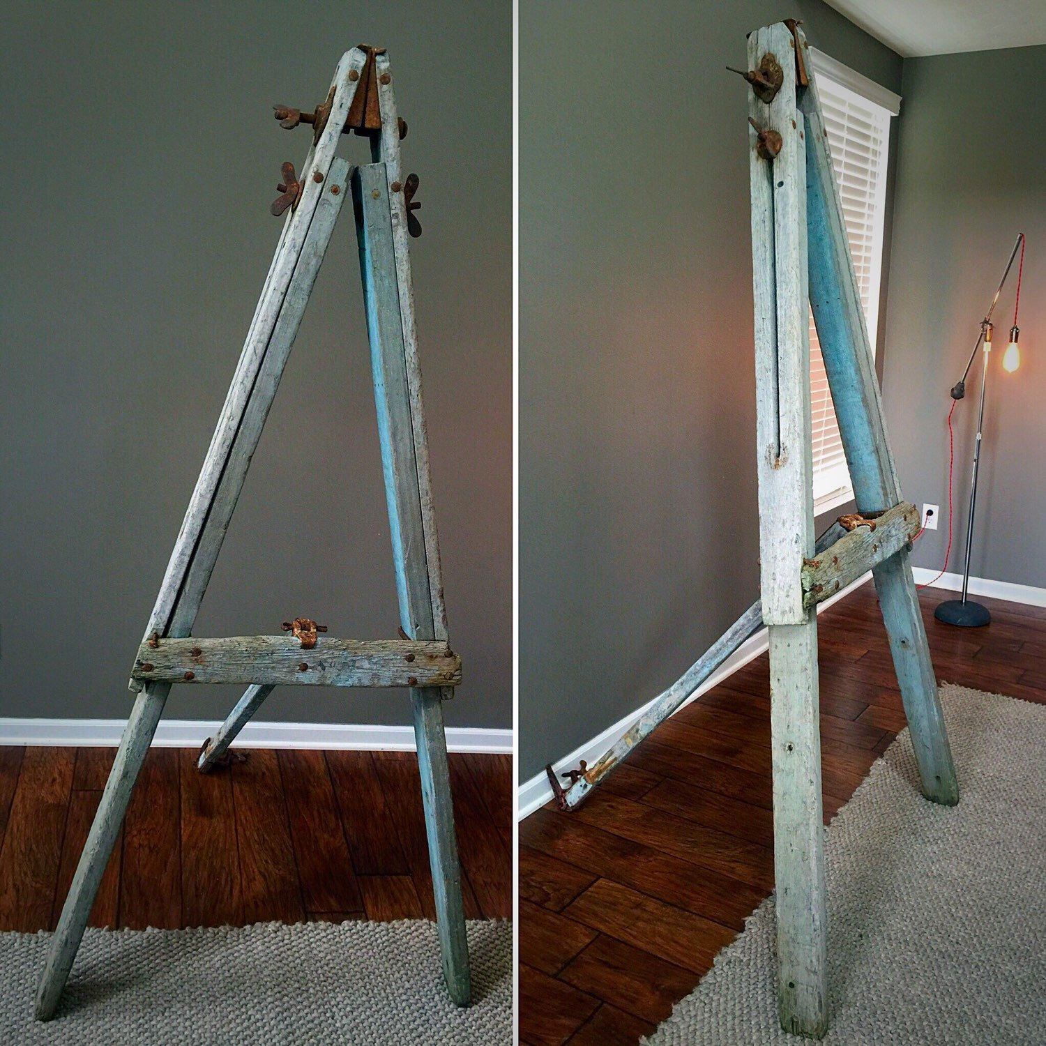 antique 75.5''-99.5'' tall large wood floor easel - adjustable art