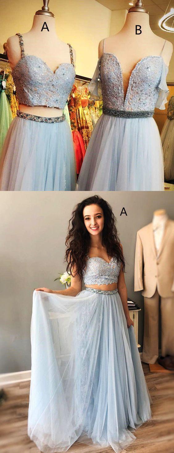Light blue spaghetti strap mismatched lace chiffon prom dresses in