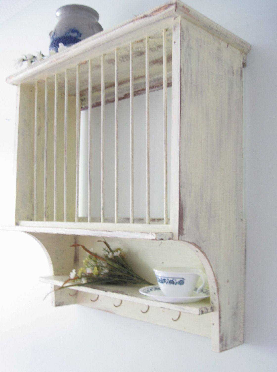 Shabby Chic Primitive French Country Cottage Style Plate Dish Rack