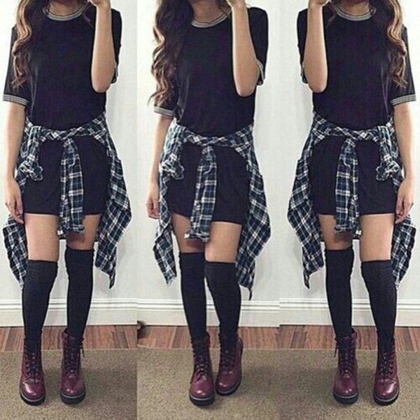 Dress: black simple black flannel flannel shirt over the knee socks... ❤ liked…