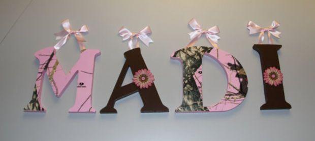 Pink Mossy Oak Wooden Letters