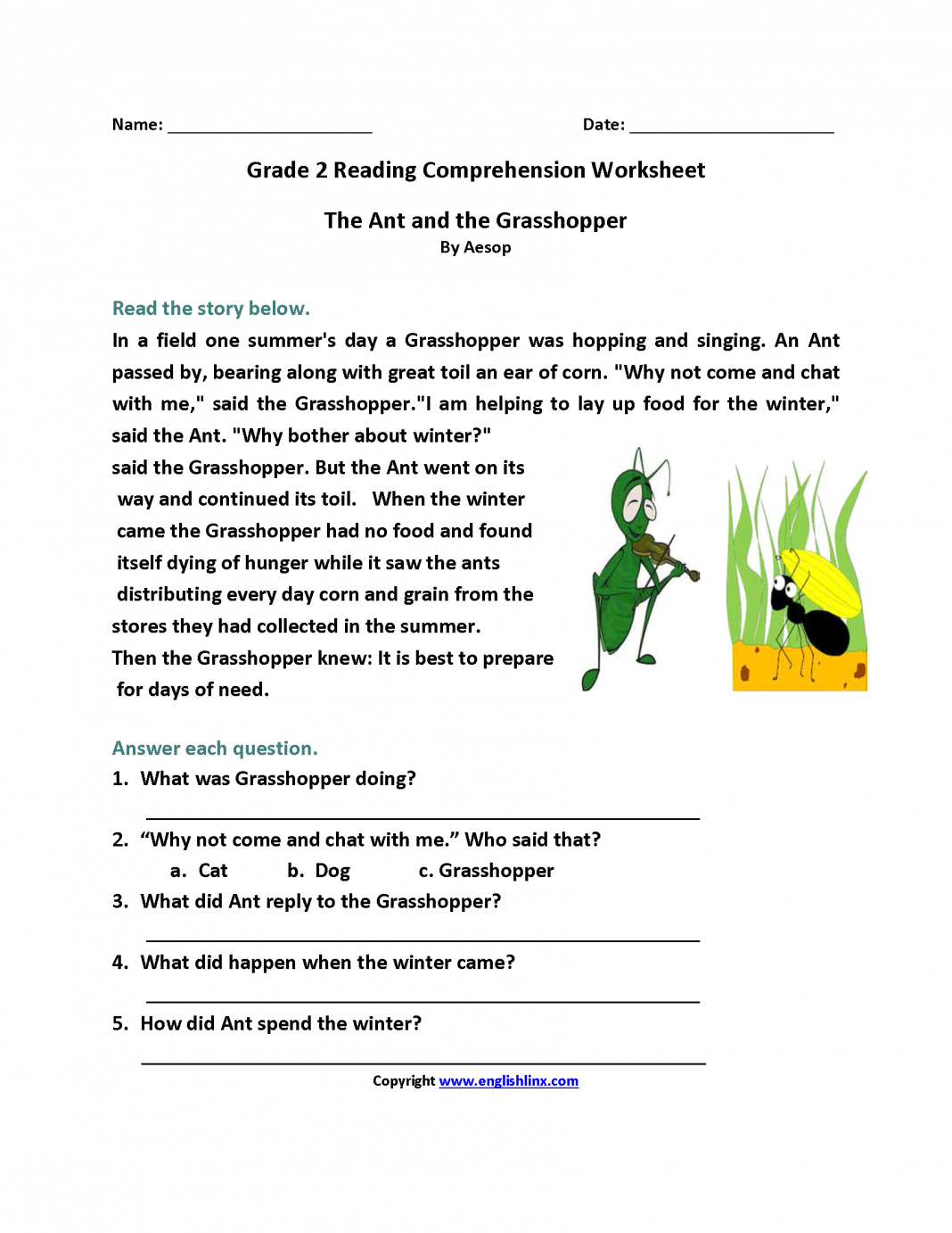Reading Comprehension Worksheets 2nd Ant And Grasshopper